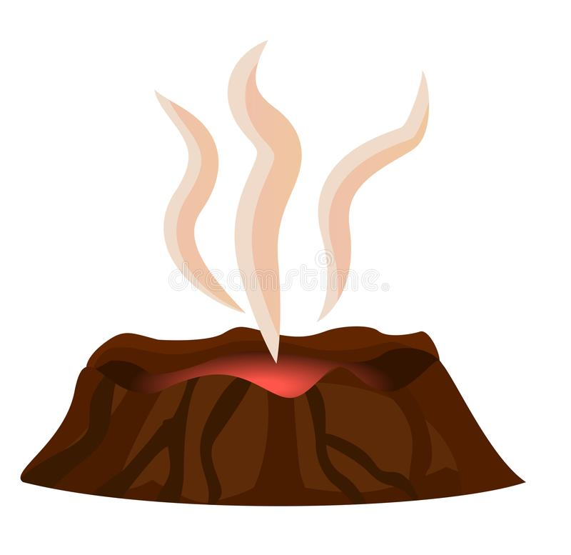 Volcano Stopped Eruption of Lava Smoke Over Crater. Volcano stopped eruption of lava, smoke over top of crater isolated on white background. Mountain with crater stock illustration