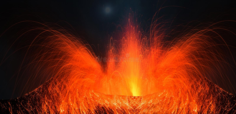 Volcano Stromboli with big eruption royalty free stock image