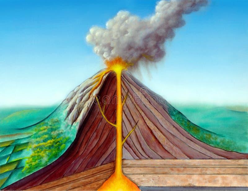 Volcano structure. Original hand painted illustration, digitally enhanced