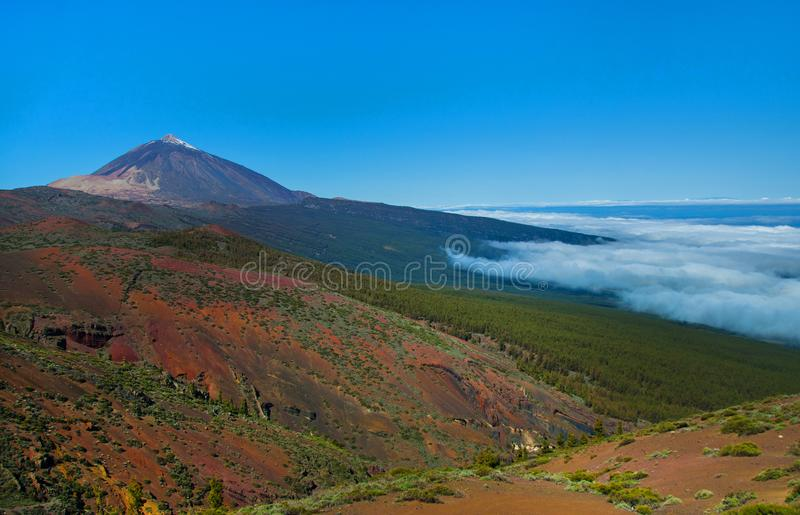Volcano Teide and lava scenery in Teide National Park, Rocky volcanic landscape of the caldera of Teide national park in Tenerife, royalty free stock photo