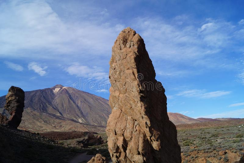 Teide National Park. Volcano Teide National Park on the canary Atlantic Island Tenerife, Spain royalty free stock photography