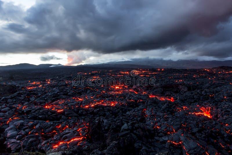 Volcano Tolbachik Lava Fields Ryssland Kamchatka, slutet av utbrottet av vulkan Tolbachik royaltyfri bild
