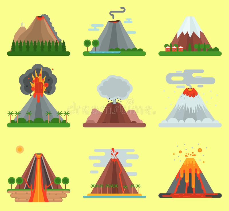 Volcano vector magma nature blowing up with smoke mountain isolated. Crater mountain volcano hot fire natural eruption. Volcano vector magma nature blowing up royalty free illustration