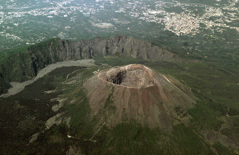 Volcano vesuvios. View from the plane on a volcano Vesuvius and the city of Naples royalty free stock photo