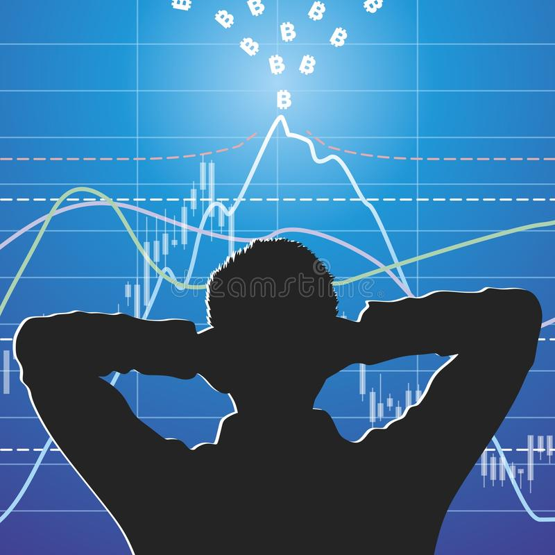 Volcano. Volcanic explosion on stock exchanges. Vector format stock illustration