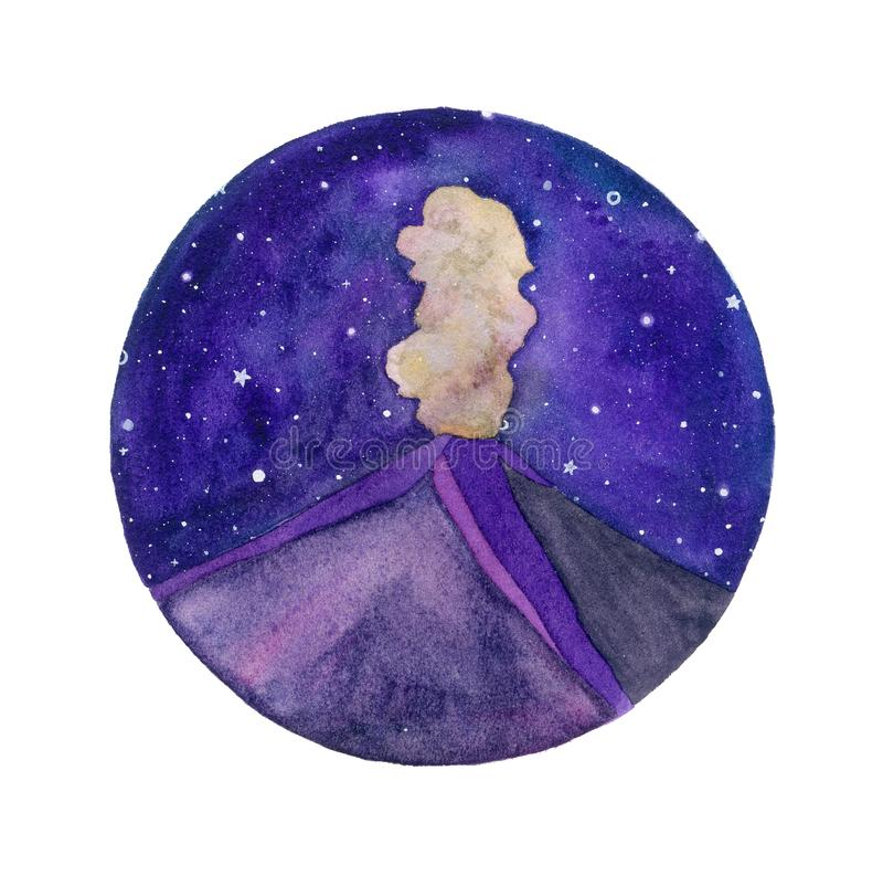 Volcano and starry night watercolor illustration stock illustration