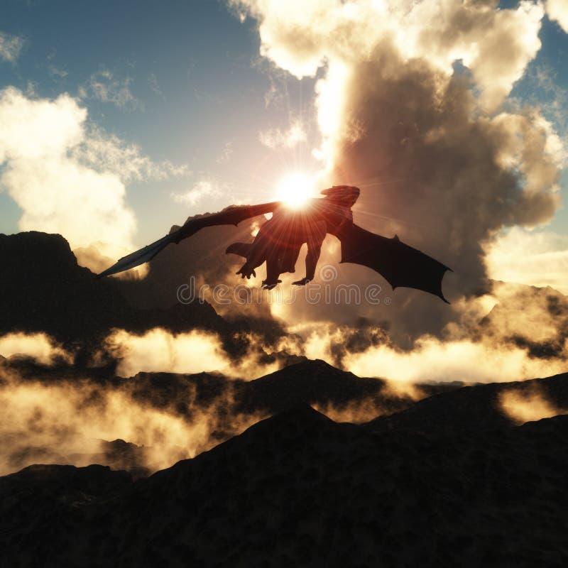 Volcanoes - Domowi smoki royalty ilustracja