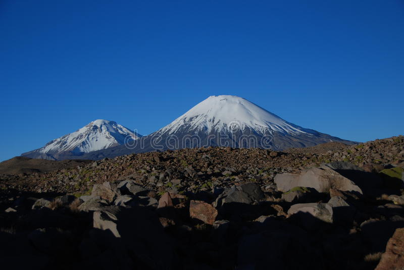 Volcanoes in Lauca National Park - Chile royalty free stock image