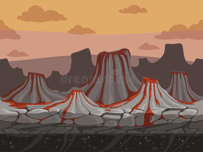 Volcanoes seamless game background. Rockie ground with stones prehistoric outdoor vector landscape in cartoon style. Illustration of volcano landscape level royalty free illustration