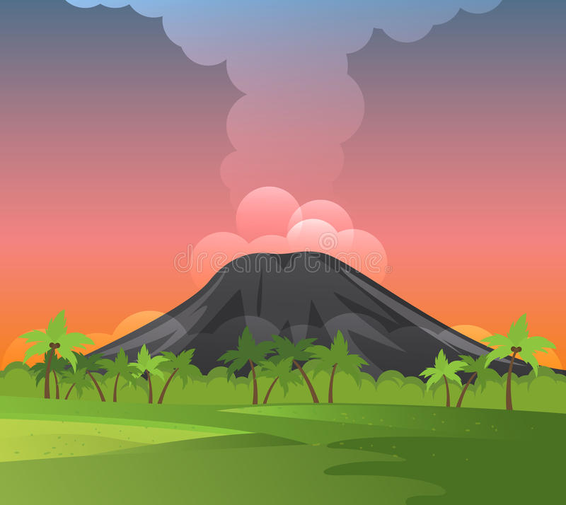 Volcanoes with smoke, green grass and palms. stock illustration