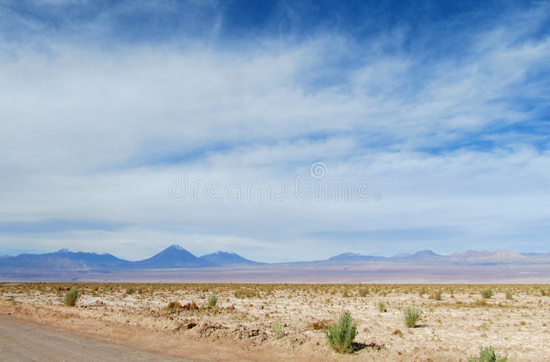 Volcanos on the horizont in Atacama desert, Chile. Volcano in Chile. Volcanos on the horizont in Atacama desert, Chile royalty free stock photo