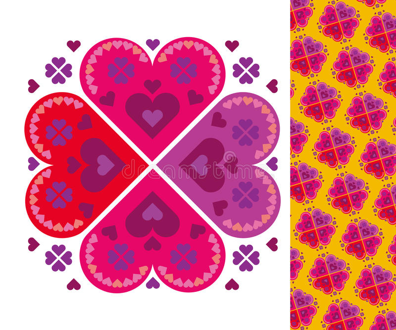 Vole folk pattern. Vector pattern of simoke hearts royalty free illustration