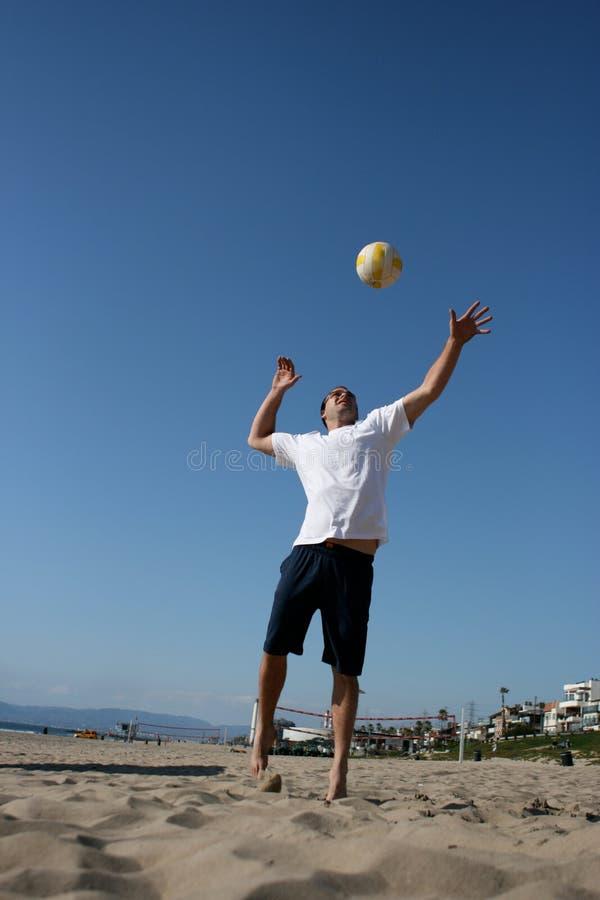 Voleibol atrativo do serviço do homem foto de stock royalty free