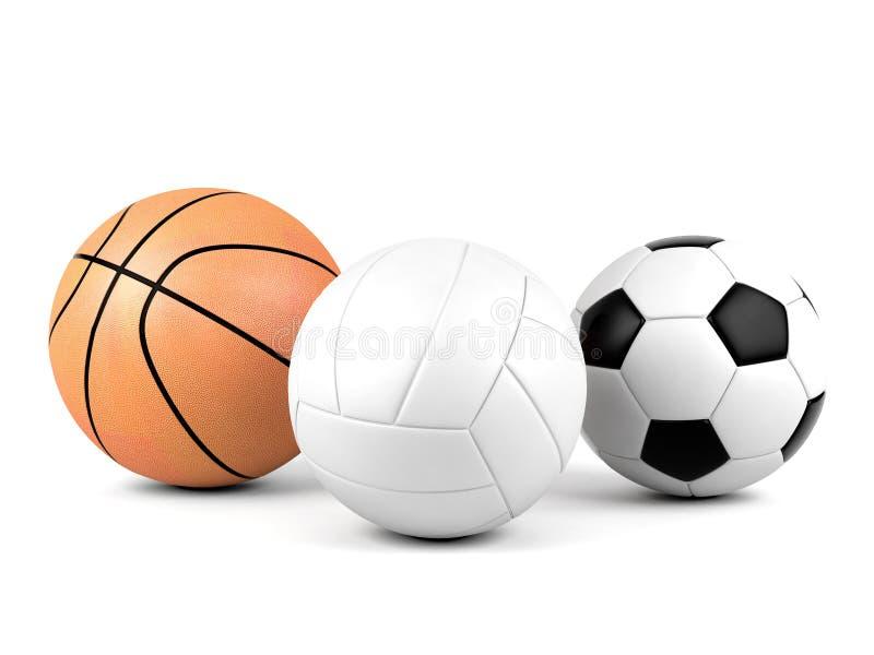 Voleibol, balón de fútbol, baloncesto, bolas del deporte en el fondo blanco fotografía de archivo libre de regalías