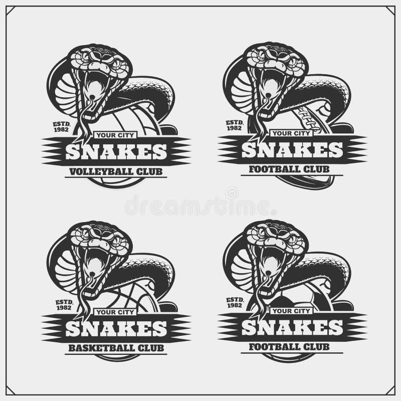 Voleibol, baloncesto, fútbol y logotipos y etiquetas del fútbol Emblemas del club de deporte con las serpientes ilustración del vector