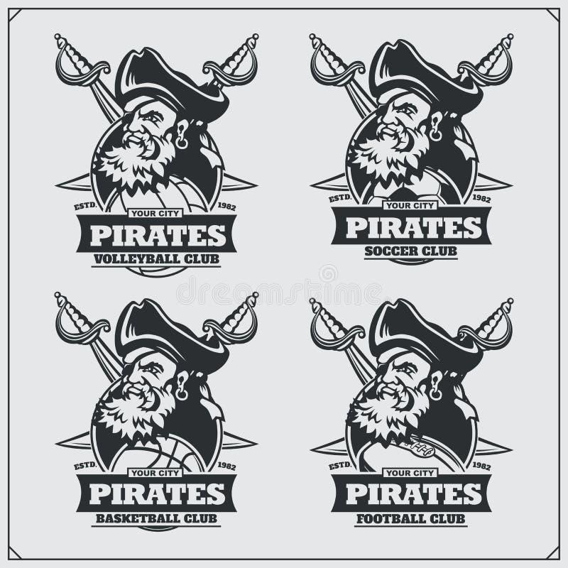 Voleibol, basebol, futebol e logotipos e etiquetas do futebol Emblemas do clube de esporte com pirata ilustração do vetor
