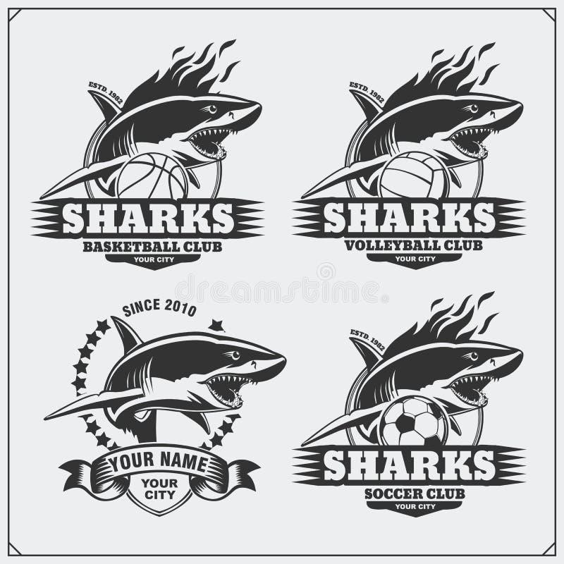 Voleibol, basquetebol e logotipos e etiquetas do futebol Emblemas do clube de esporte com tubarão ilustração do vetor