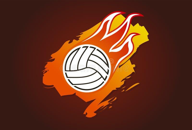 Voleibol com flamas ilustração stock