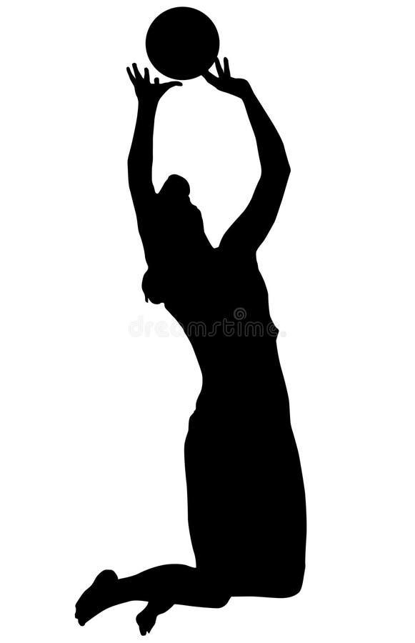 Voleibol da mulher do jogador da silhueta ilustração do vetor