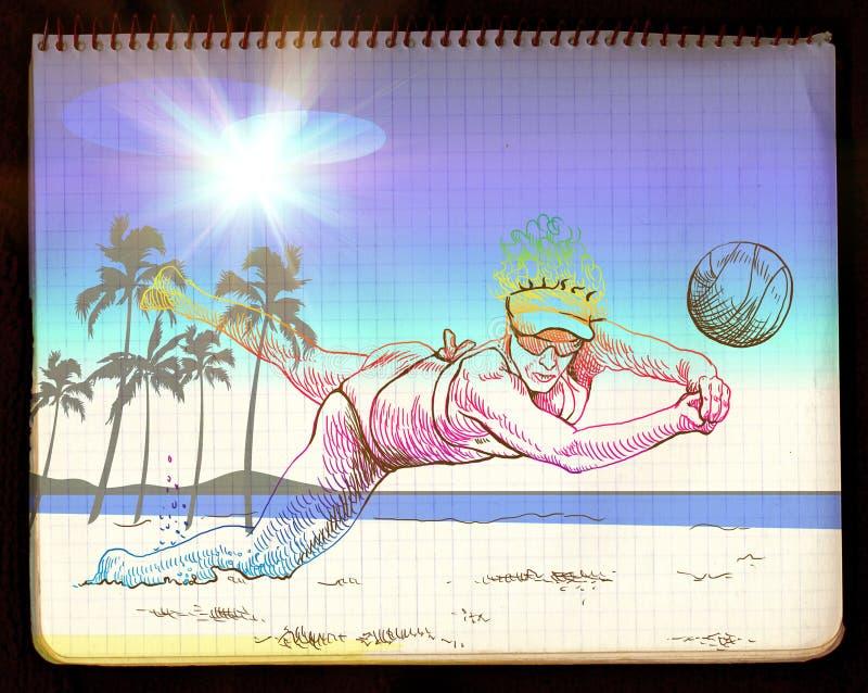 Voleibol da praia ilustração royalty free