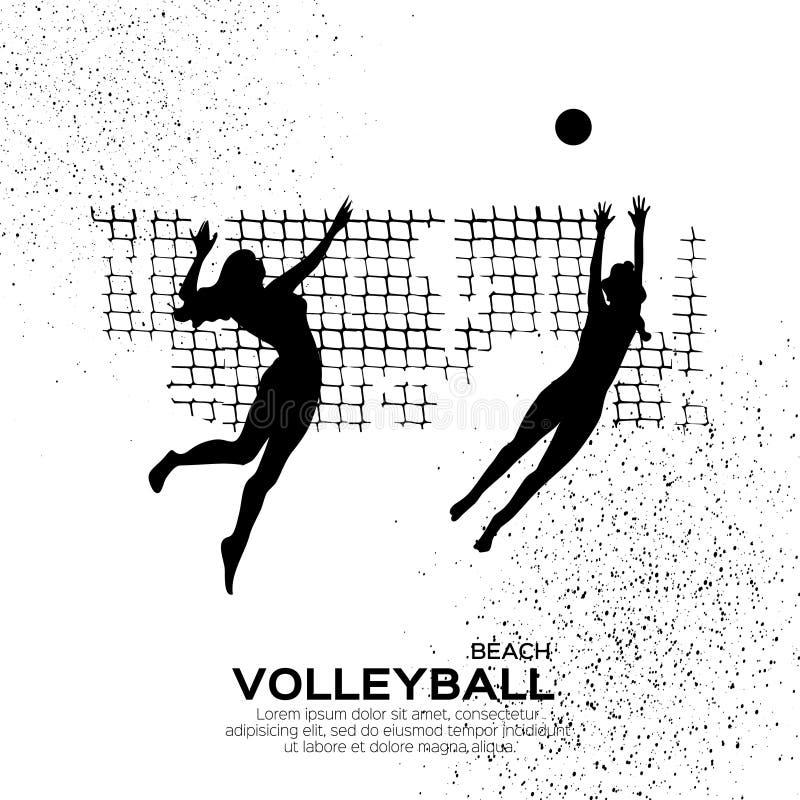 Voleibol da praia Ostente o jogo Jovem mulher engraçada com bola ilustração stock