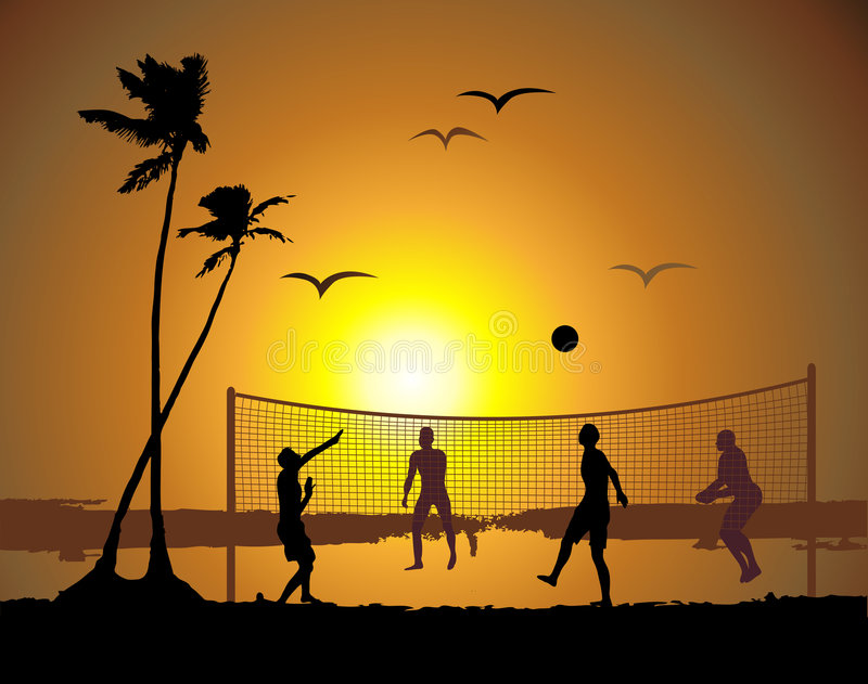 Voleibol de la playa, puesta del sol libre illustration