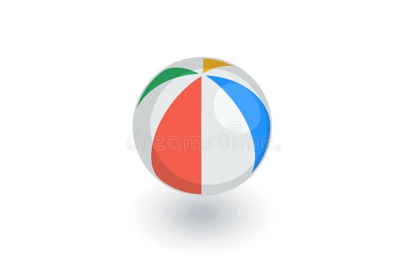 Voleibol de praia, ícone liso isométrico da bola inflável da salva vetor 3d ilustração do vetor