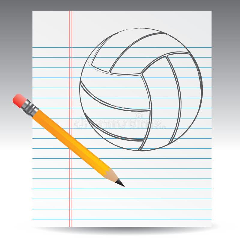 Voleibol drenado en el papel con el lápiz stock de ilustración