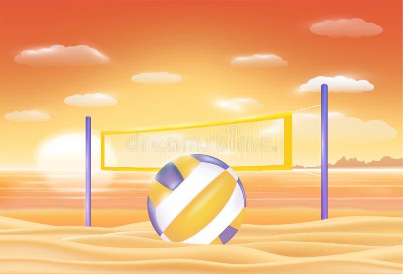 Voleibol em uma praia da areia do mar do por do sol ilustração royalty free