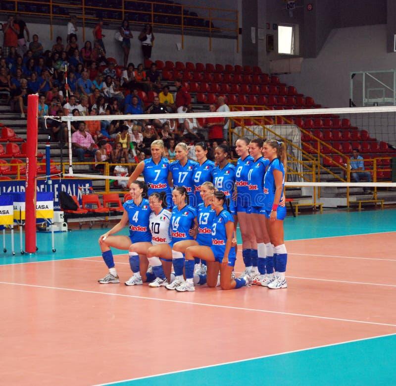 Voleibol: A equipe italiana fotografia de stock