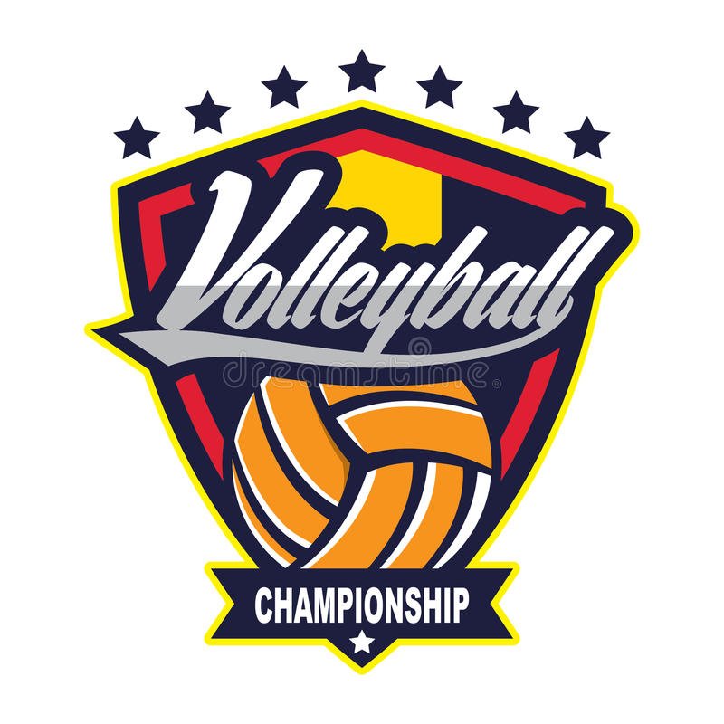 Voleibol Logo Badge, americano Logo Sport stock de ilustración