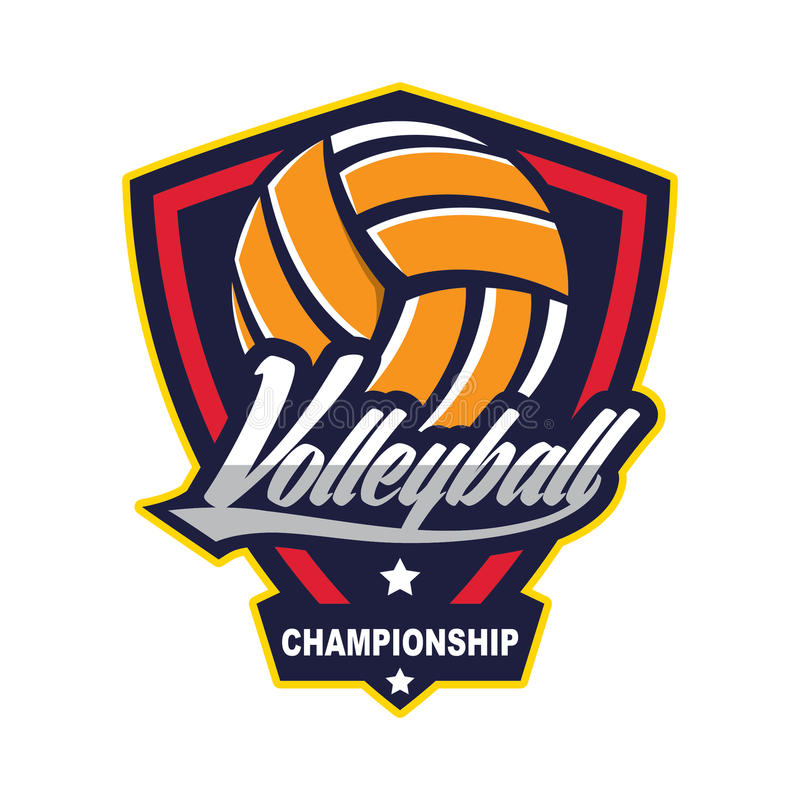 Voleibol Logo Badge, americano Logo Sport ilustração stock