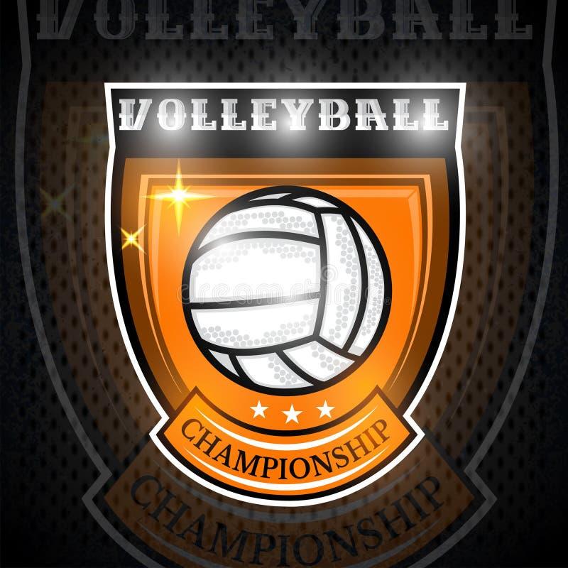 Voleibol no centro do protetor Ilustração do ícone exterior do projeto dos esportes da aventura ilustração do vetor