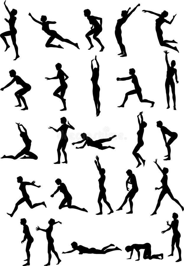Voleibol 'sexy' Silouettes ilustração royalty free
