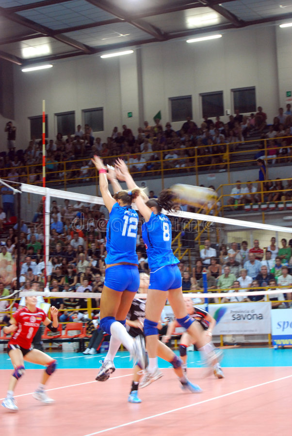 Voleibol: Test match de Preolympic foto de stock