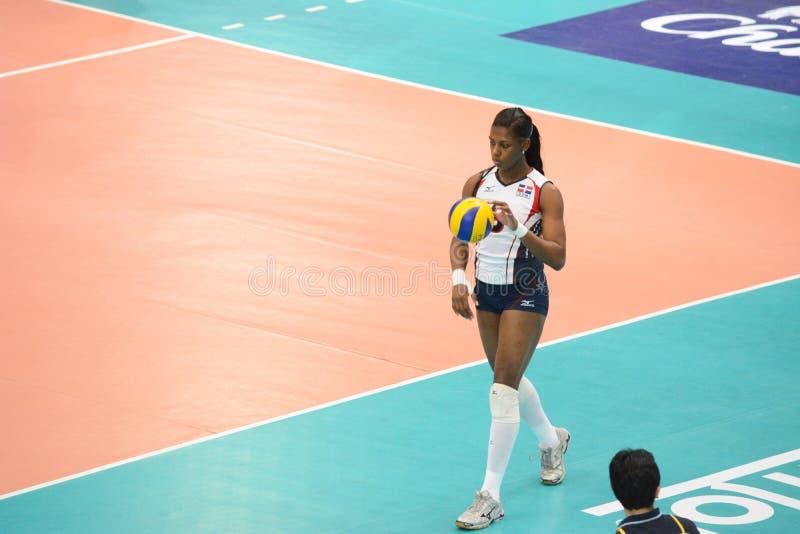 Voleibol WGP: Brasil CONTRA o Dominican fotografia de stock royalty free