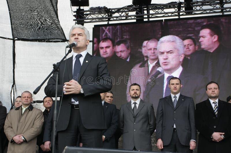 Volen Siderov sulla protesta di raduno per la festa nazionale della Bulgaria - il giorno di liberazione in st anteriore Aleksande immagini stock libere da diritti