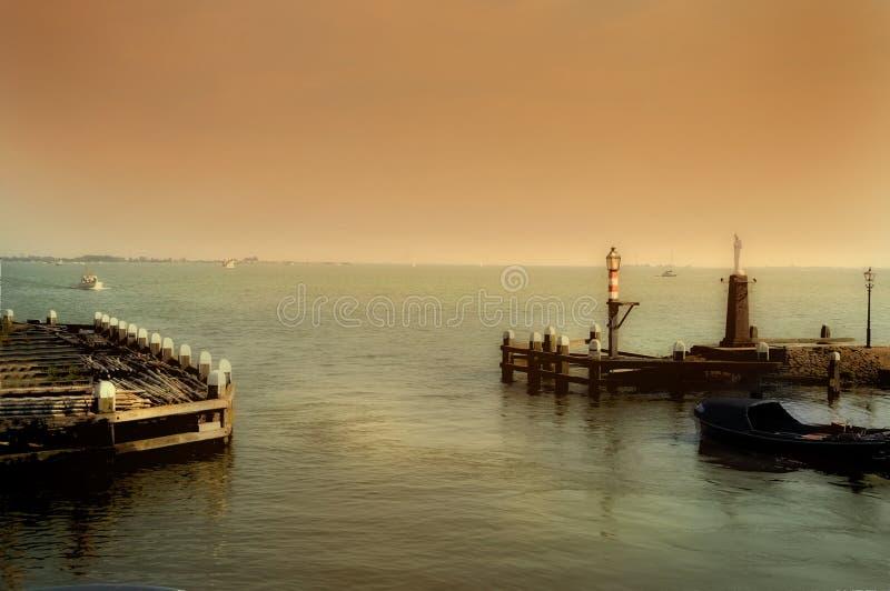 Volendam harbor. Harbor of Volendam, a small village at Markermeer in Netherlands stock image