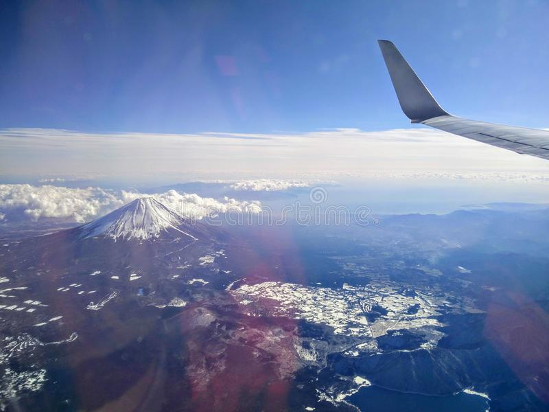 Voler au-dessus de Fuji photo stock