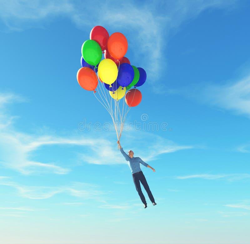 Voler avec des ballons illustration de vecteur