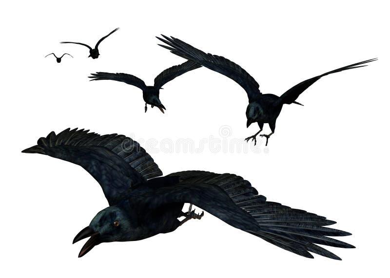 Voler de corneilles illustration de vecteur