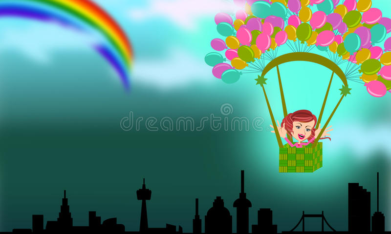 Voler pour attraper l'arc-en-ciel de l'espoir illustration libre de droits