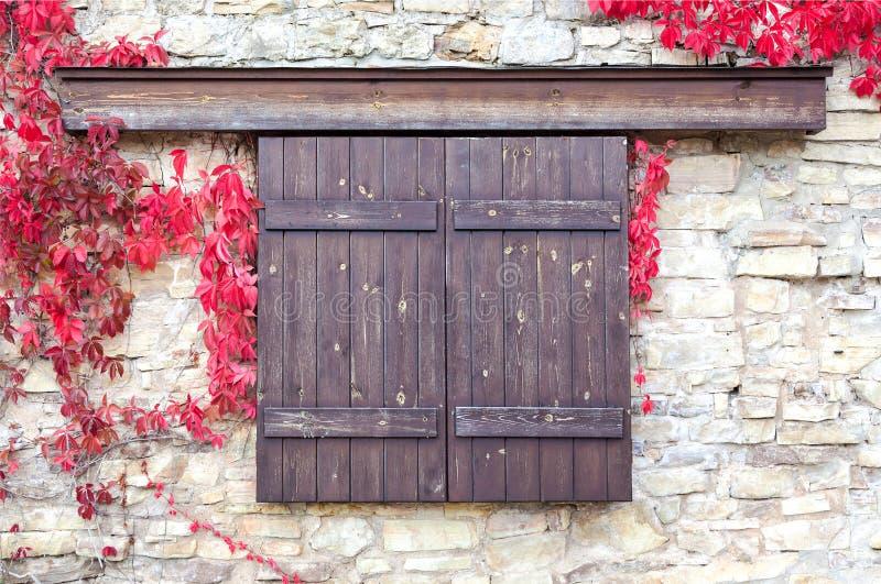 Volets en bois sur le fond de mur en pierre avec des feuilles d'automne photos stock