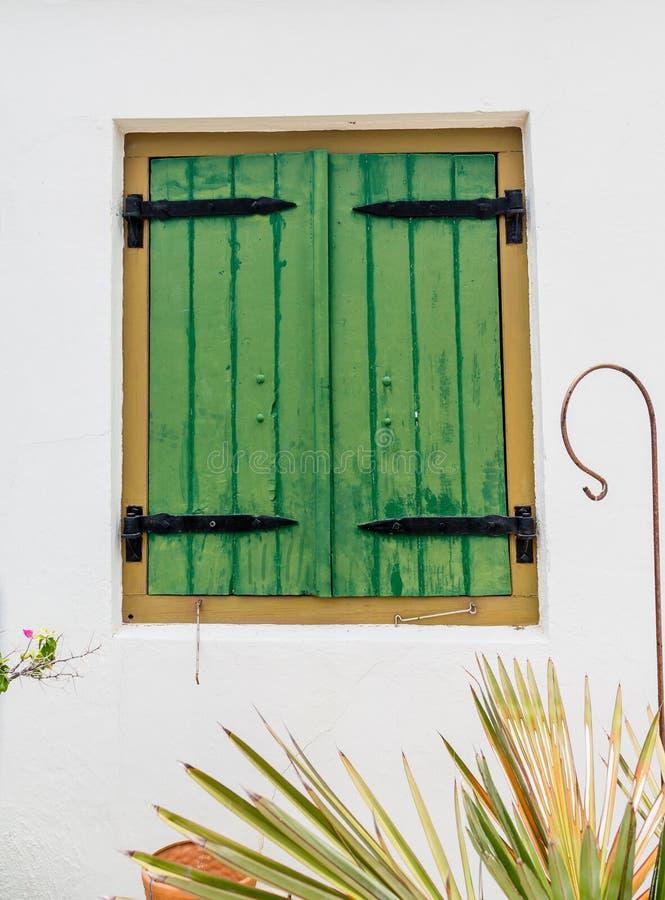 Volets en bois verts avec les charnières noires de fer photographie stock