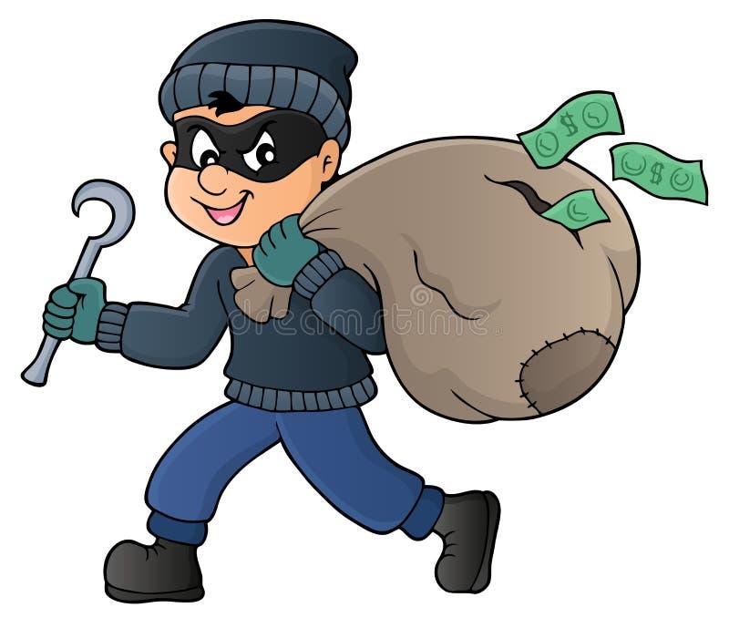 Voleur avec le sac du thème 1 d'argent illustration libre de droits