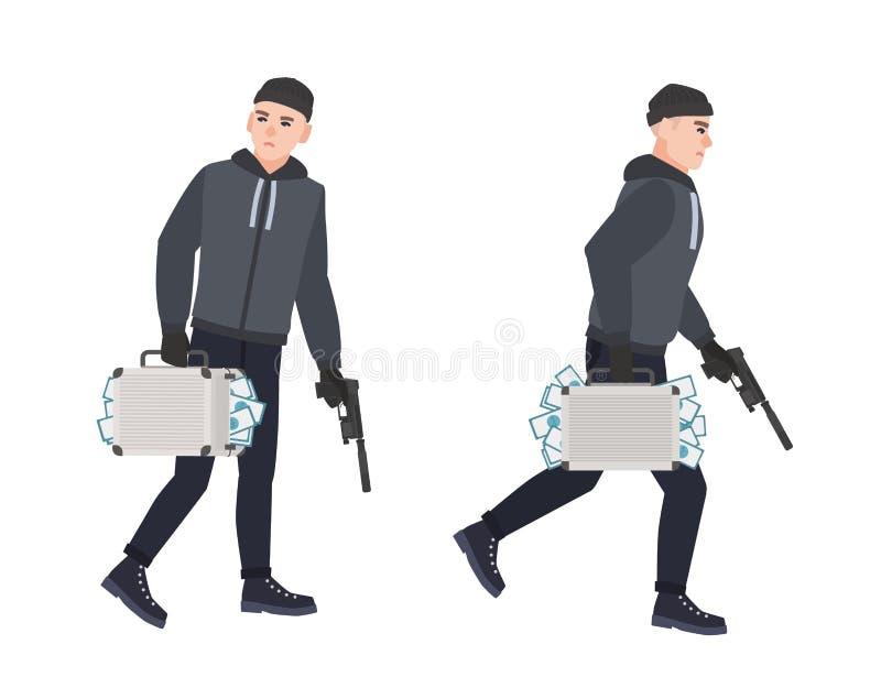 Voleur, cambrioleur ou voleur de vol jugeant l'arme à feu et la housse de transport pleines de l'argent volé Vol ou vol Bande des illustration libre de droits