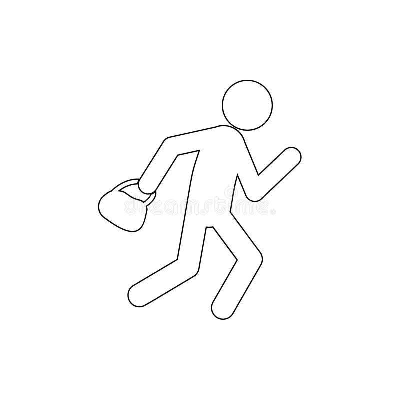 voleur d'icône de sacs Élément de crime pour le concept et l'icône mobiles d'applis de Web Ligne mince icône pour la conception d illustration stock