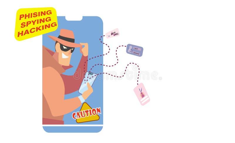 Voleur d'Internet sur le travail illustration libre de droits