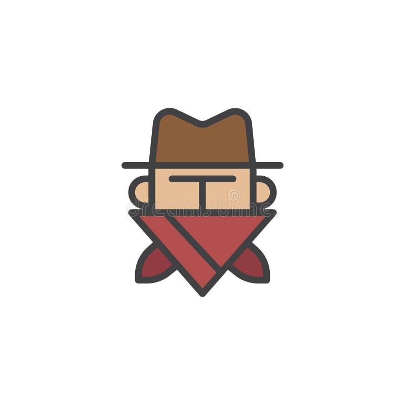 Voleur dans l'icône remplie par masque d'ensemble illustration stock