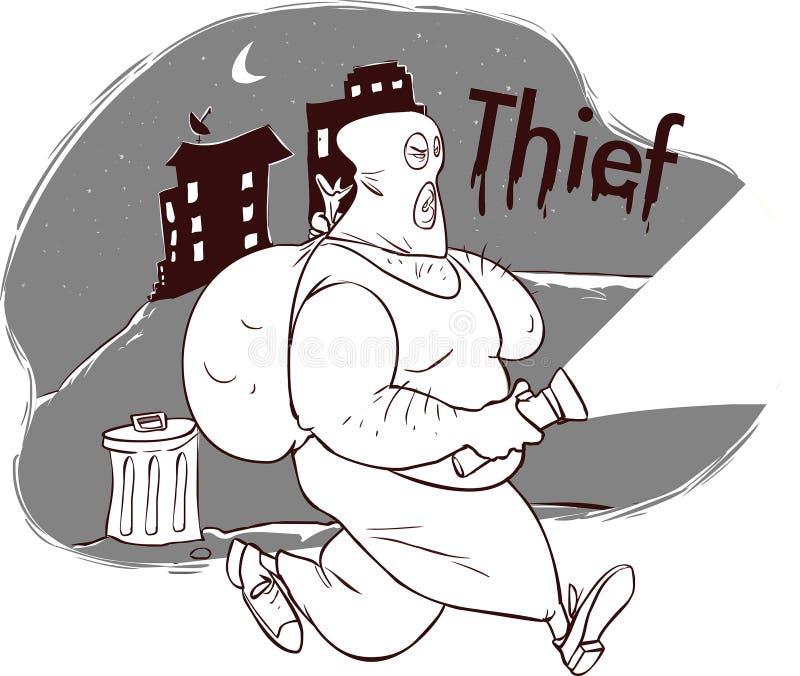 Voleur dans la ville de nuit illustration stock